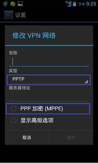 第五步、在类型选项中,选择PPTP,取消PPP加密。