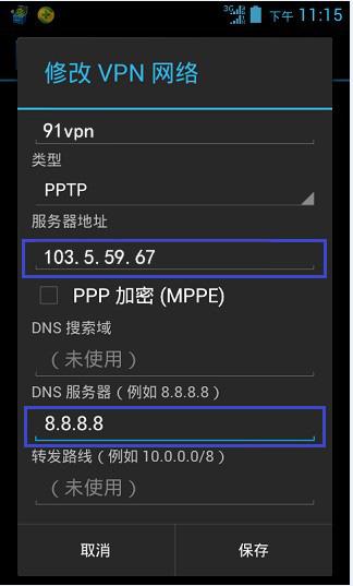 第六步、在名称输入91vpn(可以自定义)